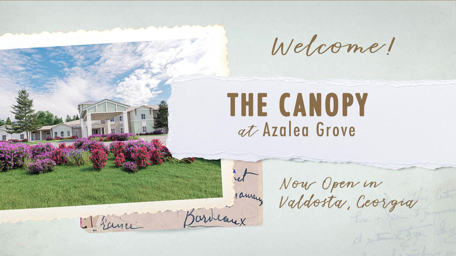 Welcome to The Canopy at Azalea Grove and assisted living and memory care community in Valdosta, GA. We are Now Open!